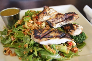 Grilled Chicken salad for lunch is high in protein and full of greens to satisfy your appetite!
