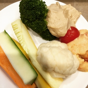 One of my favorite snacks; hummus with mixed veggies full of fiber and protein!