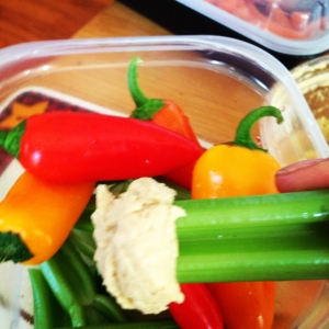 Colorful veggies & hummus; full of antioxidants, protein & fiber!