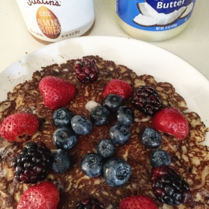 Try sneaking in protein powder, flaxseed and fruit to traditional pancakes kids love; and top it off with almond & coconut butter!